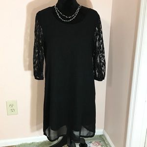 Free bird Black Lined Sheer Dress with Lace Sleeve